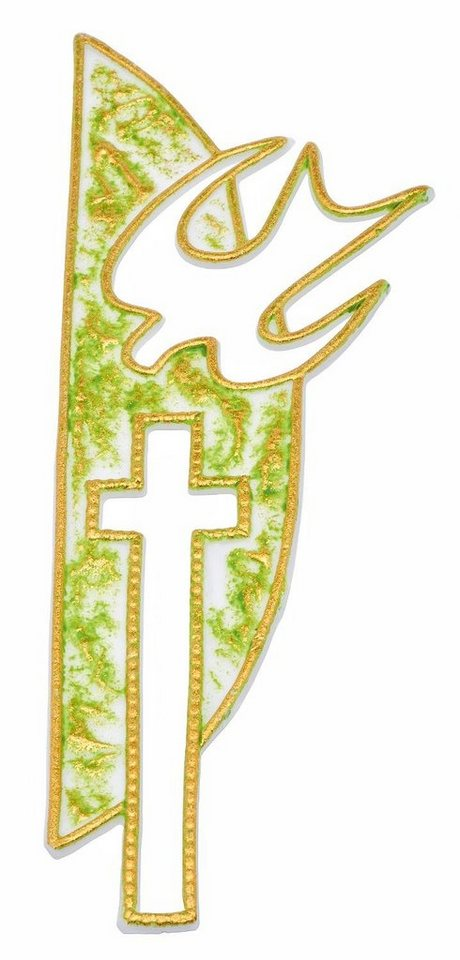 "Wachsmotiv ""Kreuz + Taube, grün/gold"""