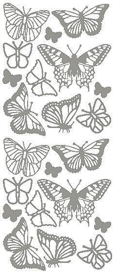 """Reliefsticker """"Schmetterling"""" in silber"""