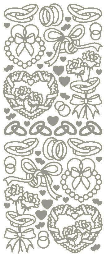 """Reliefsticker """"Hochzeit"""" in silber"""