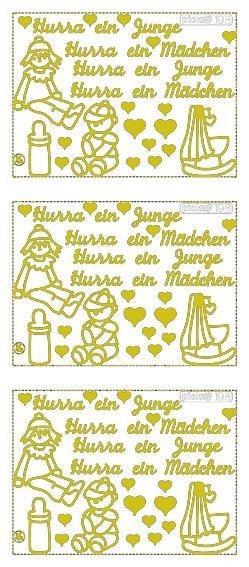 """Reliefsticker """"Hurra ein Junge/Hurra ein Mädchen"""" in gold"""