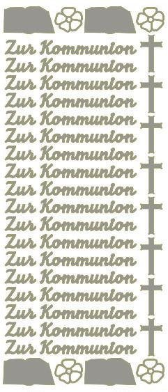 """Reliefsticker """"Zur Kommunion"""" in silber"""