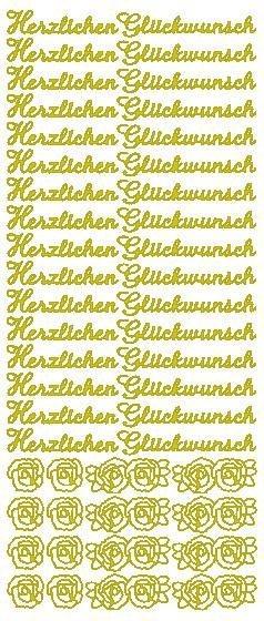 """Reliefsticker """"Herzlichen Glückwunsch"""" in gold"""