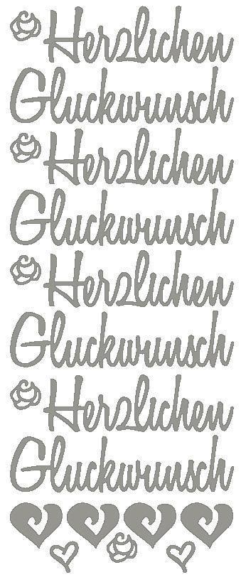 """Reliefsticker """"Herzlichen Glückwunsch XL"""" in silber"""