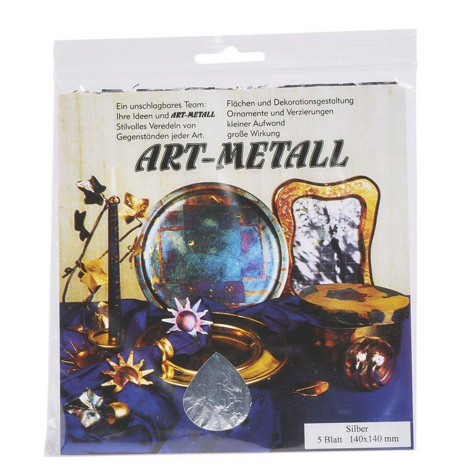 Blattmetall Silberfarben, 5 Blatt