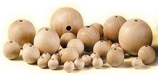 Holzkugeln, Ø 15 mm, halbgebohrt
