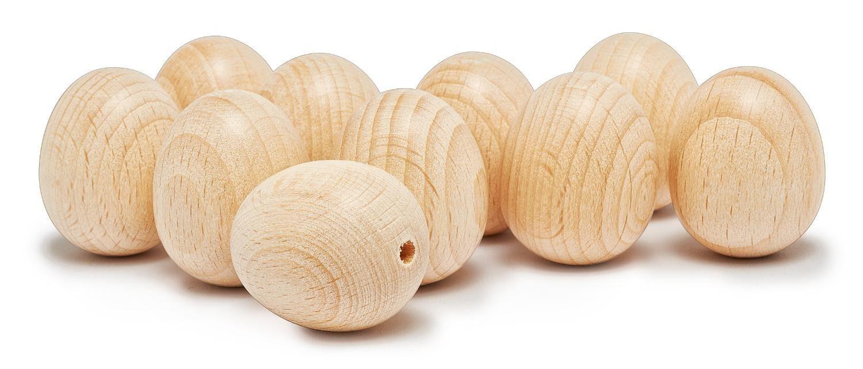 Holz-Eier, oben gebohrt, 25 x 30 mm