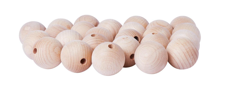 Holzkugeln, Ø 40mm, halbgebohrt