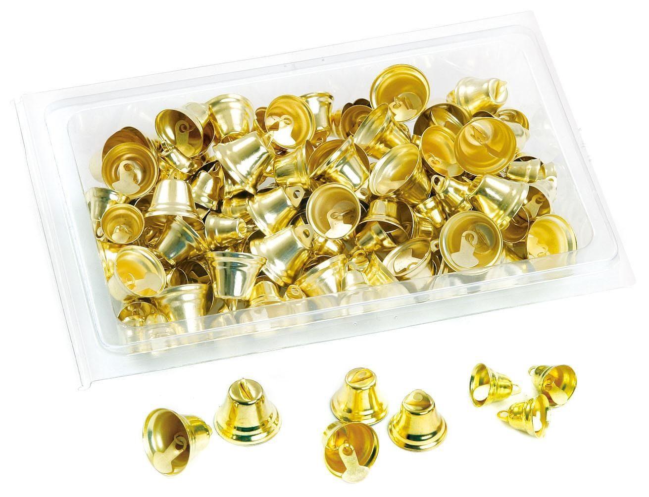 Glöckchen-Sortiment, 140 Stück, goldfarben