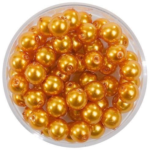 Glaswachsperlen Ø 10 mm in goldgelb