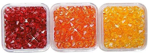 Acryl-Perlen-Trio, Ø 4 mm, 12 g in Rot-Orange