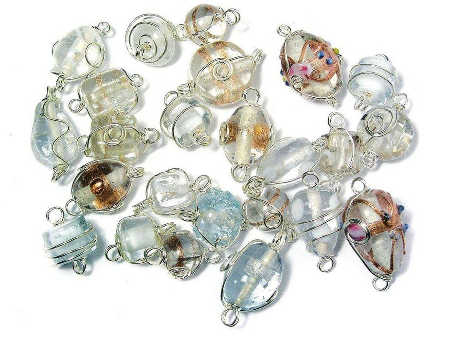 Glasperlen mit silberdraht inhalt packung ca 20 g ca - Silberdraht kaufen ...