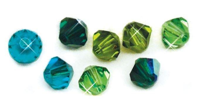 Swarovski Kristall Schliffperlen Mix in Grün-Töne