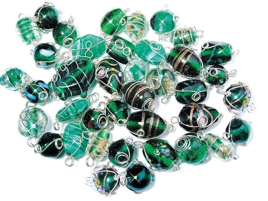 Glasperlen mit Silberdraht