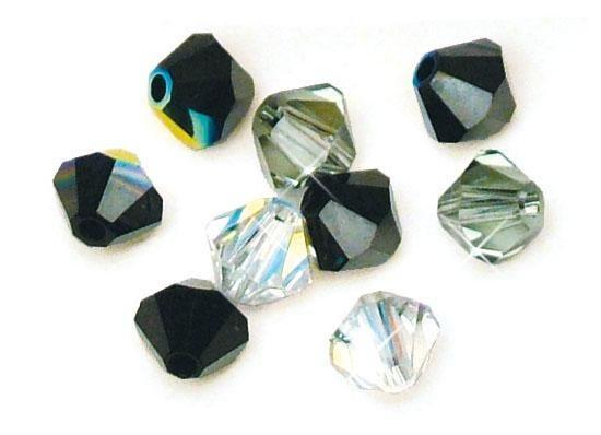 Swarovski-Kristall-Schliffperlen-Mix, Ø 6mm in schwarz/weiß