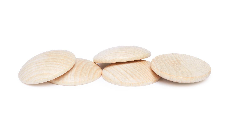 Holzplatinen, gewölbt, Ø 40 mm