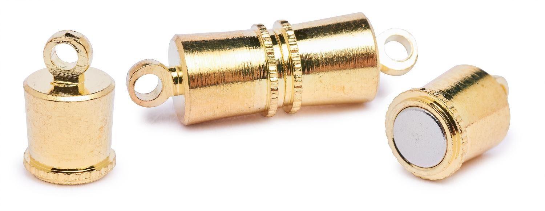 """Magnet-Verschluss """"Line"""", 5 Stück, vergoldet"""