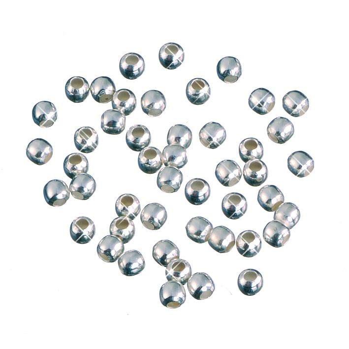Quetschperlen, 925er Sterling-Silber, 40 Stk.