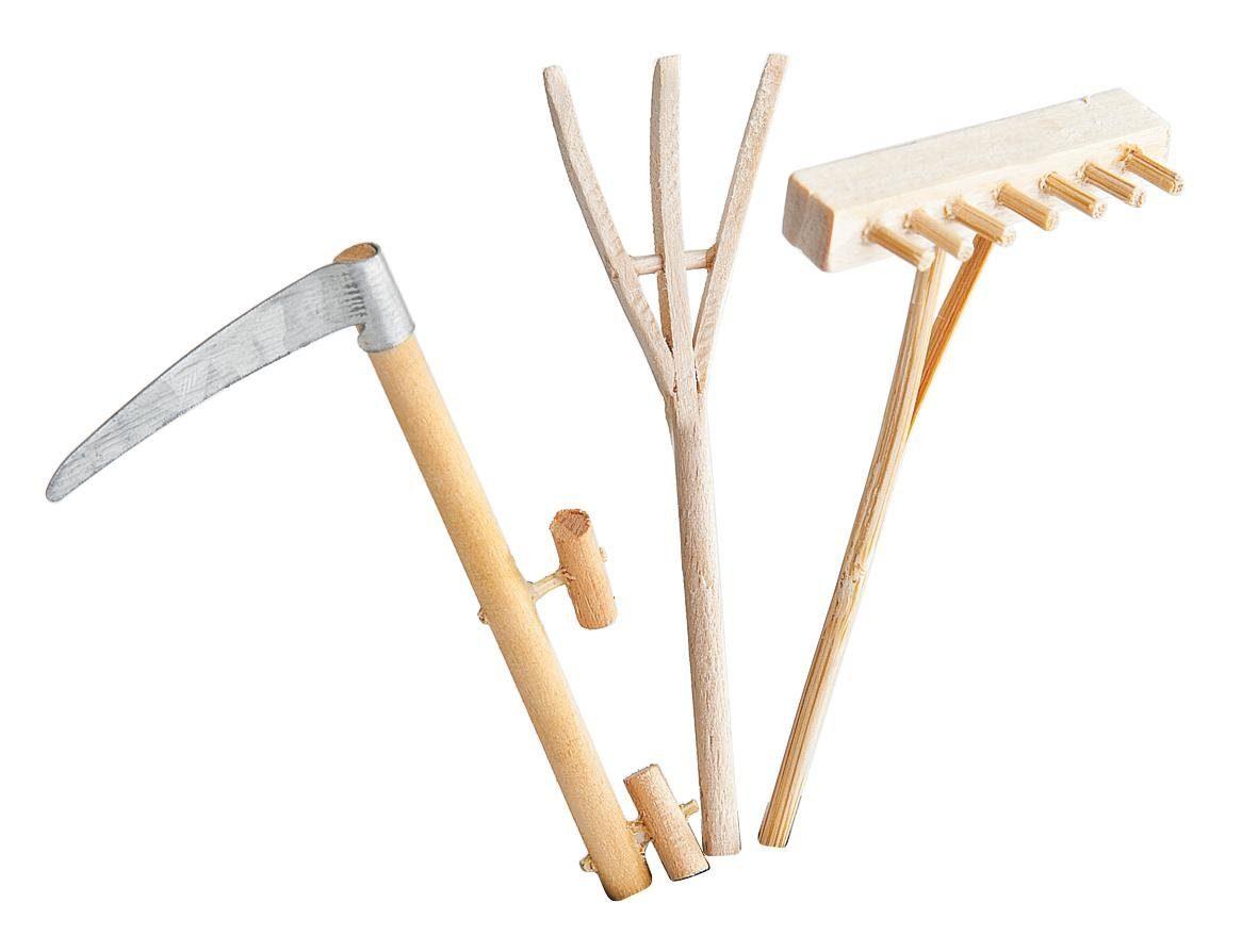 Holz-Gartengeräte, 3er-Set