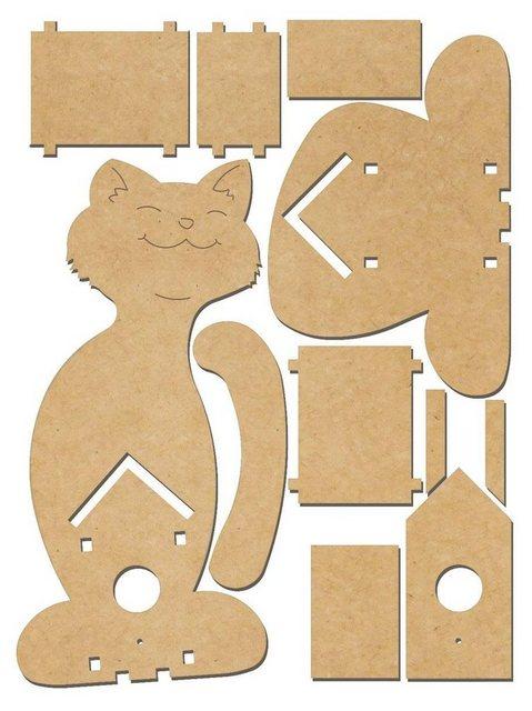 Deko-Vogelhaus ´´Katze´´, MDF-Holz | Dekoration > Figuren und Skulpturen > Tiere | Bunt | Mdf - Holz