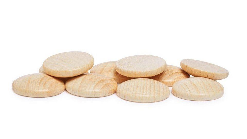 10 Holzplatinen, gewölbt, Ø 25 mm