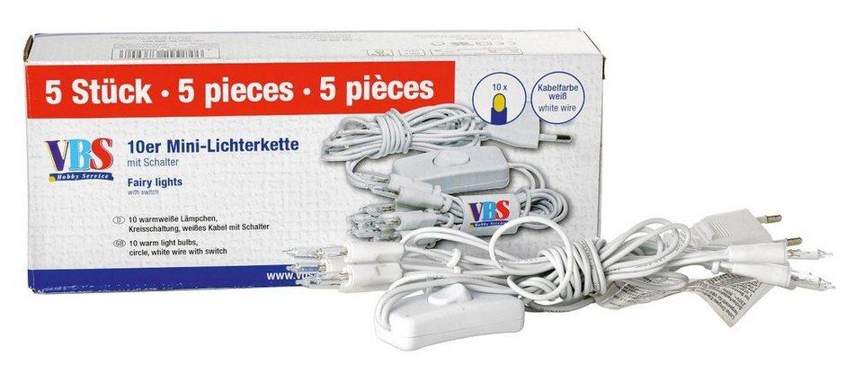 VBS 10er Mini-Licherkette mit Schalter. Pack 5 Stück
