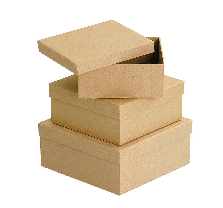 VBS Quadratschachteln aus Karton, naturfarben, 3er-Set
