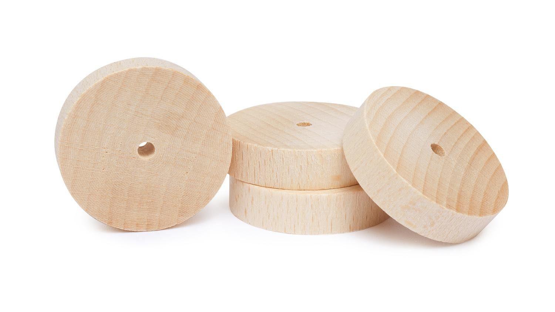 Holzscheiben/Räder, 4 Stück, Ø 40 mm