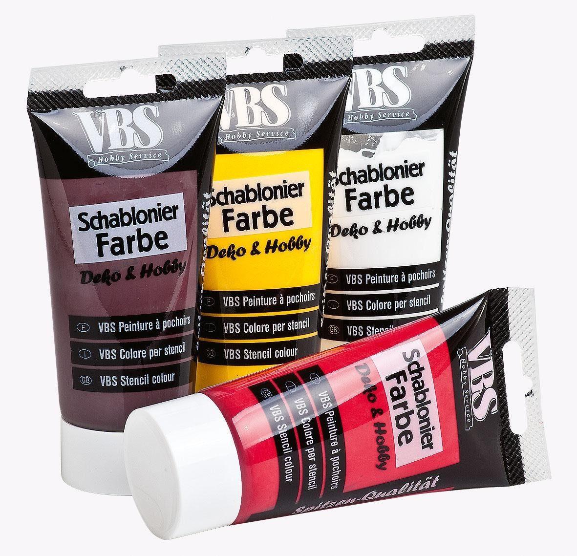 VBS Farbset Schablonierfarbe, 4er-Set