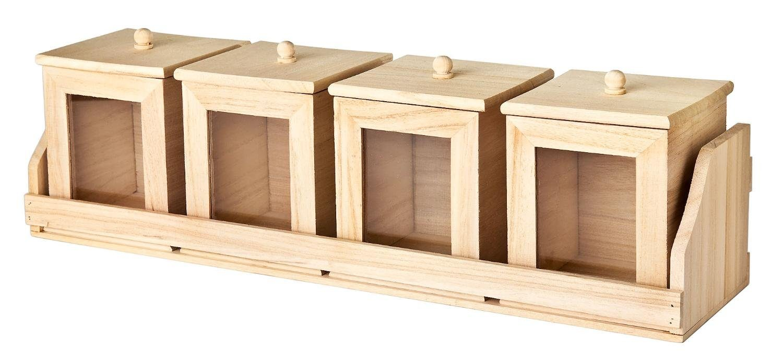 VBS Bord mit 4 Vorratsbehältern, Küchenbord, Regal, Holz