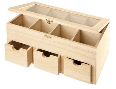 vbs teebox mit 3 schben und sichtfenster aus glas - Holzbasteln