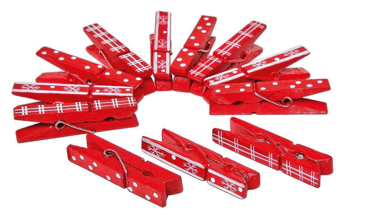VBS Wäscheklammern rot-weiß, 12 Stück