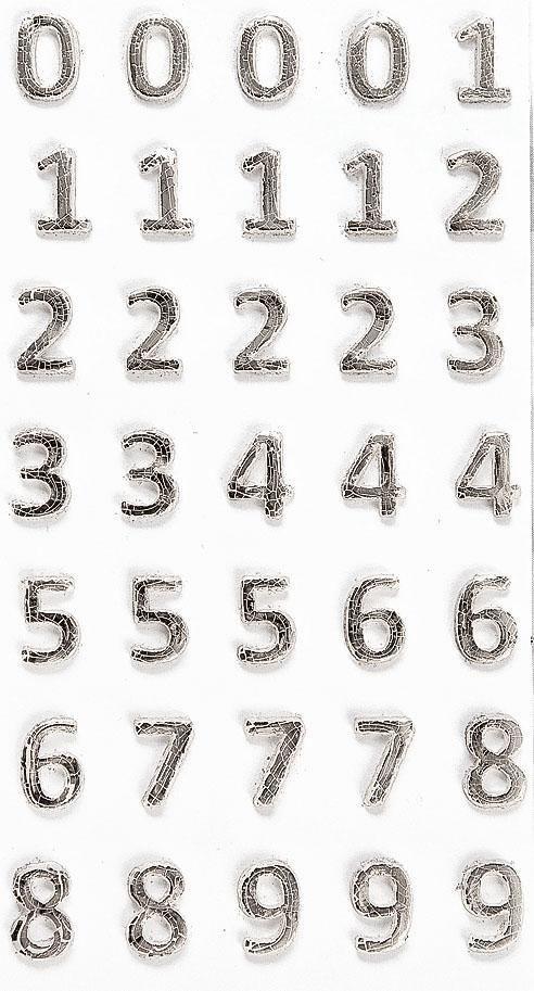 Wachsmotiv Zahlen in silber