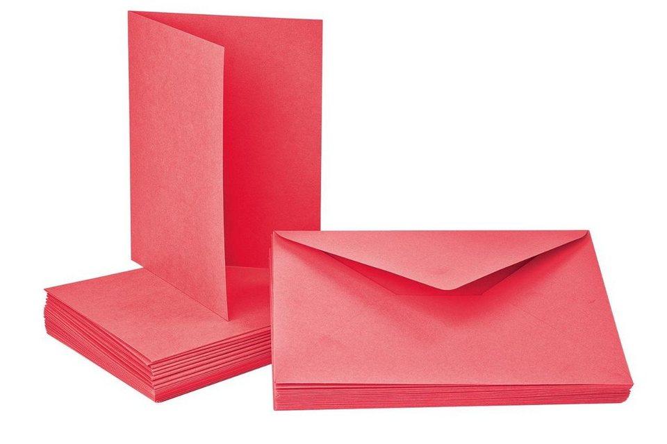 Doppelkarten mit Umschlägen, 40-tlg. in rot
