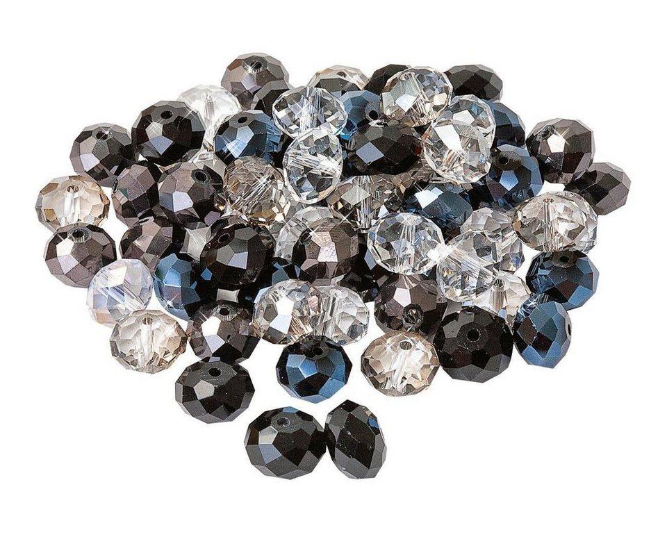Glasschliffperlen, 12 mm in schwarz-kristall