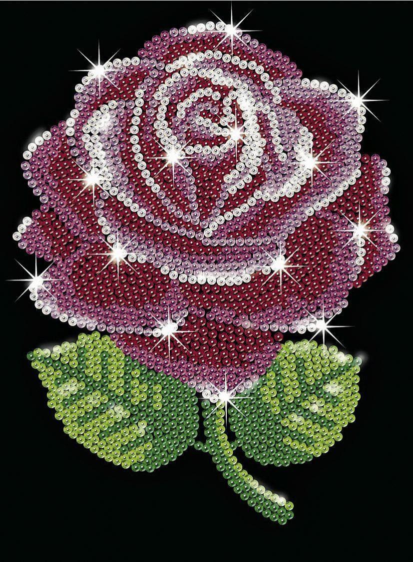 "Paillettenbild ""Rose"""