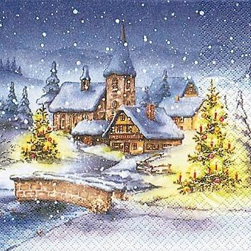 """Serviette """"Weihnachten im Schnee"""""""