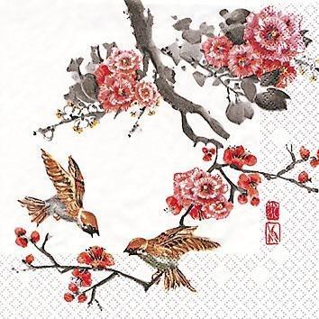 """Serviette """"Kirschblüten und Vögel"""""""