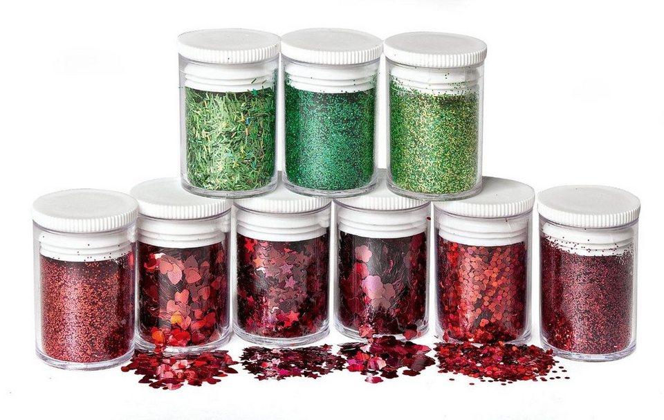 Glitter 9er-Set in Rot/Grün