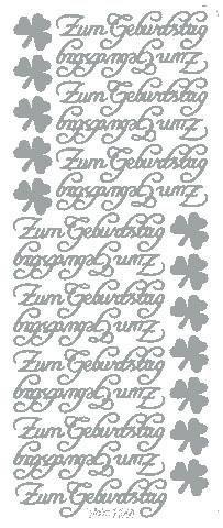 """Reliefsticker """"Zum Geburtstag"""" in silber"""