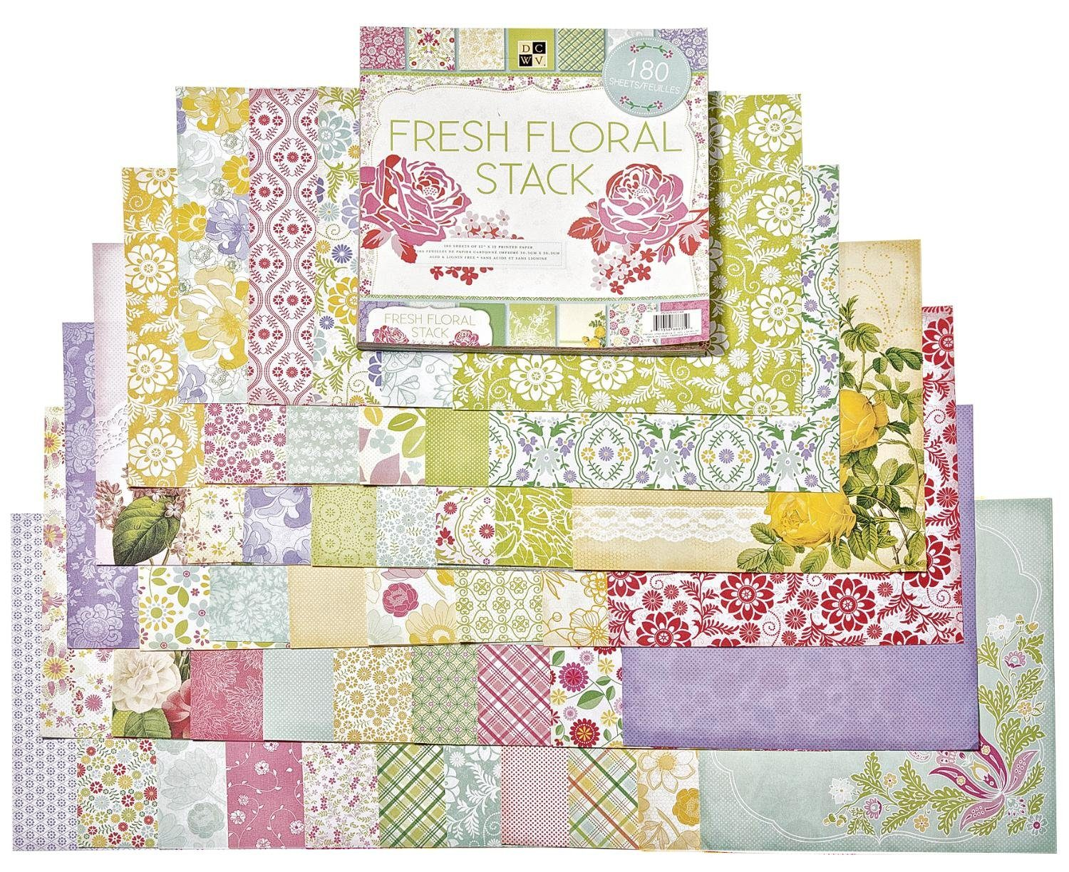 "die cuts with view Scrapbook Block ""Fresh Floral"", 180 Blatt"