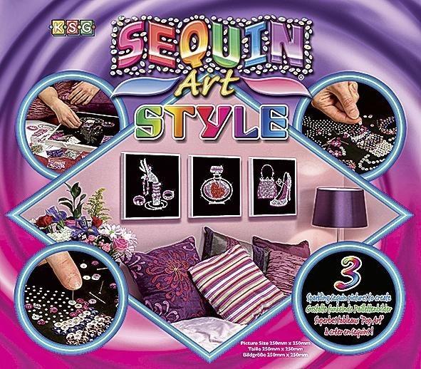 "Paillettenbilder ""New Art Style"", 3er-Set"