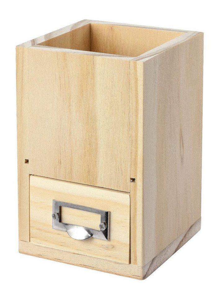 VBS Stiftbox mit Schub, Kiefernholz