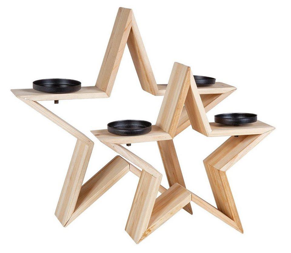 VBS Dekosterne 2er-Set, mit Kerzenhaltern, 2er-Set, Dekosterne Fichtenholz online kaufen b16e19