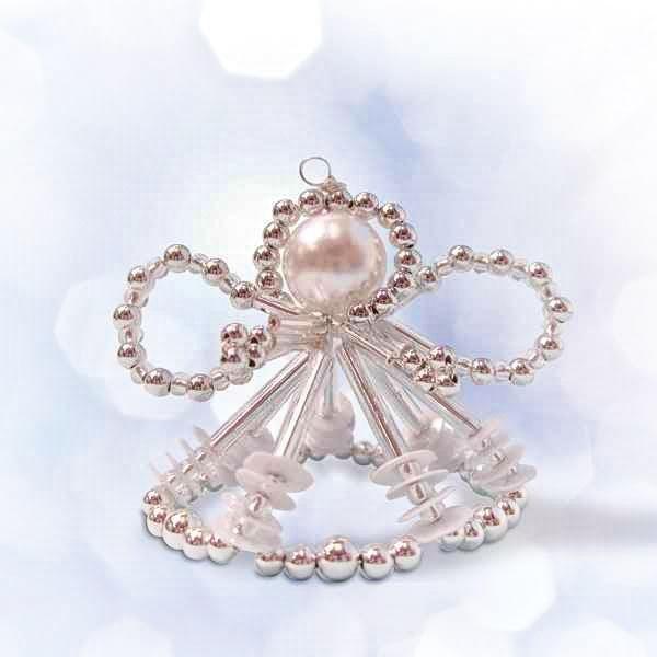 """Perlenengel Bastel-Set """"Arielle"""" in silber-weiß"""