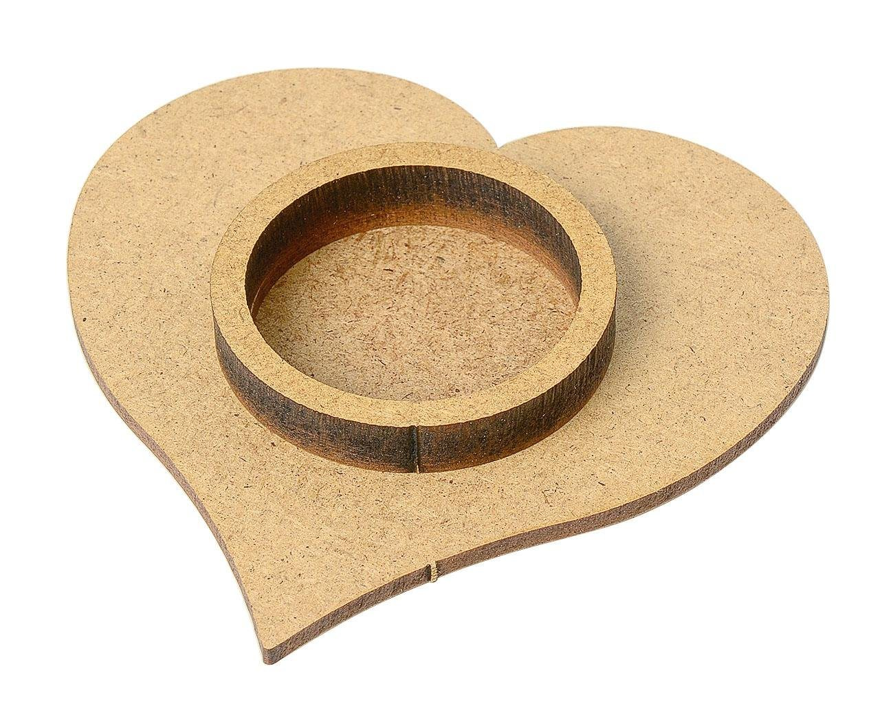 Teelichthalter ´´Herz´´, MDF-Holz, unbemalt