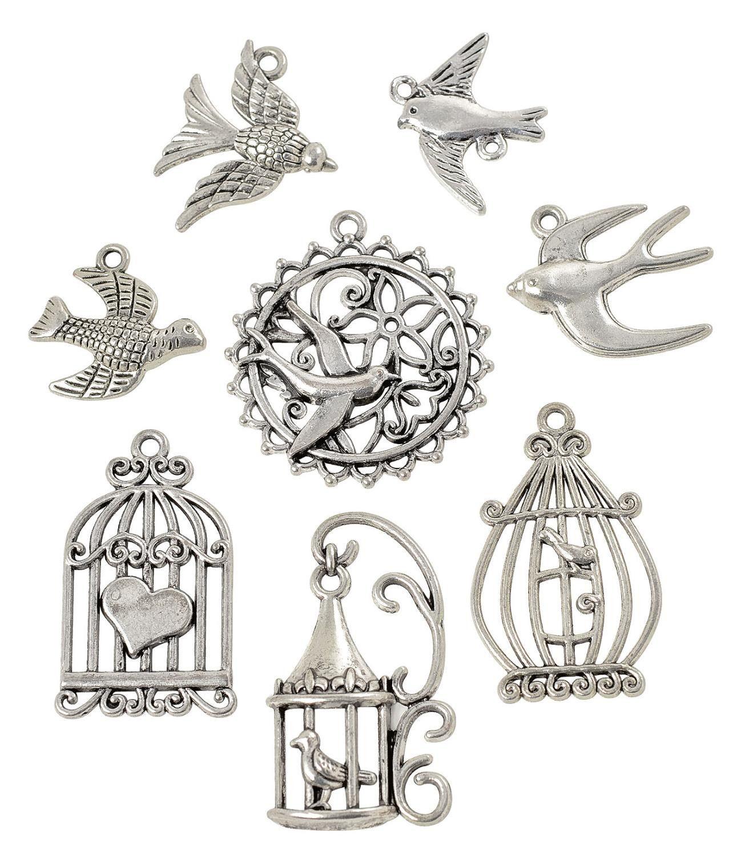 "VBS Metall-Anhänger ""Vintage Birds"", 8-teilig"
