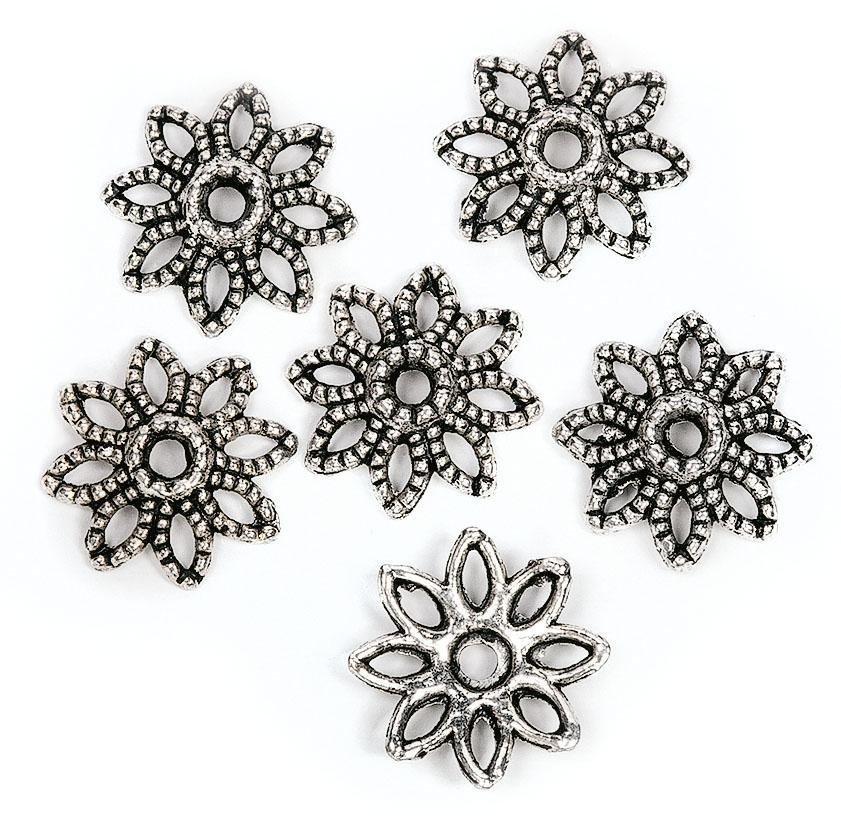 "Zier-Perlkappen ""Blume 1"", 6 Stück"