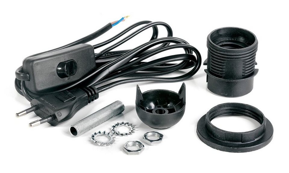 VBS Tischlampen-Anschlusskabel-Set E27 in schwarz
