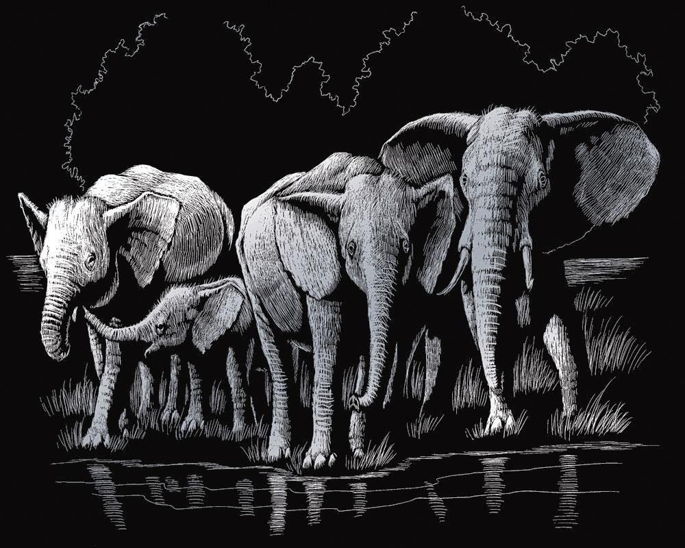 """Kratzbild """"Elefanten"""""""