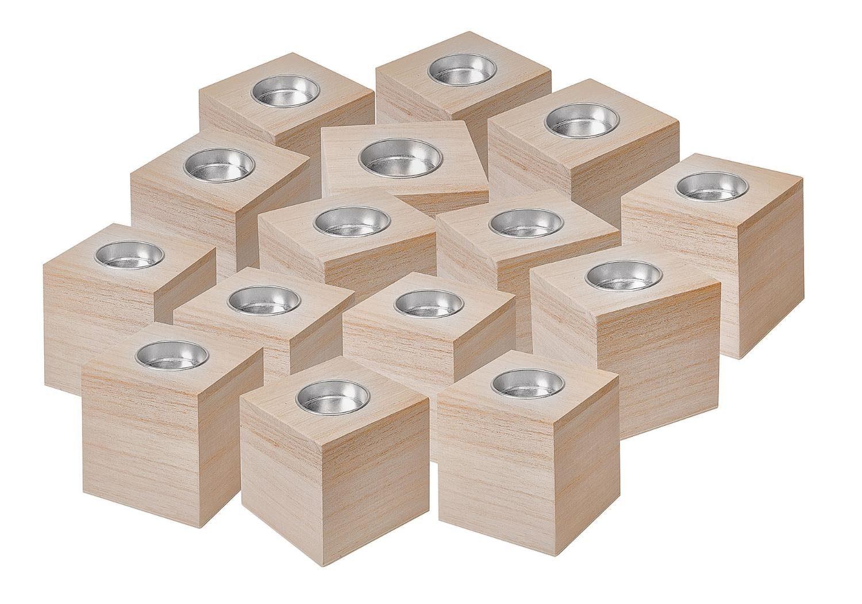 VBS Großhandelspackung 15 Teelichtwürfel, Rohholz, ca. 8x8x8cm